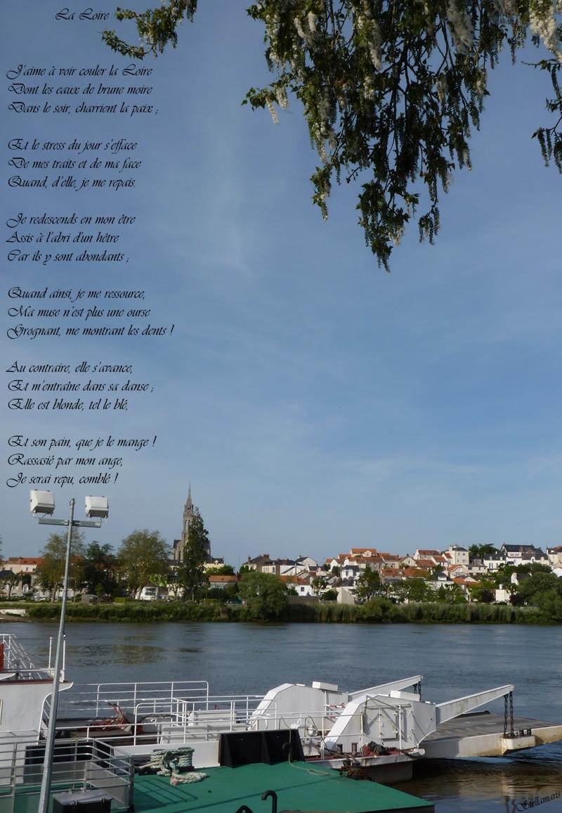 La Loire / / J'aime à voir couler la Loire / Dont les eaux de brune moire / Dans le soir, charrient la paix ; / / Et le stress du jour s'efface / De mes traits et de ma face / Quand, d'elle, je me repais. / / Je redescends en mon être / Assis à l'abri des hêtres / Sur ses rives abondants ; / / Quand ainsi, je me ressource, / Ma muse n'est plus une ourse / Grognant, me montrant les dents ! / / Au contraire, elle s'avance, / Et m'entraîne dans sa danse ; / Elle est blonde, tel le blé, / / Et son pain, que je le mange ! / Rassasié par mon ange, / Je serai repu, comblé ! / / Stellamaris