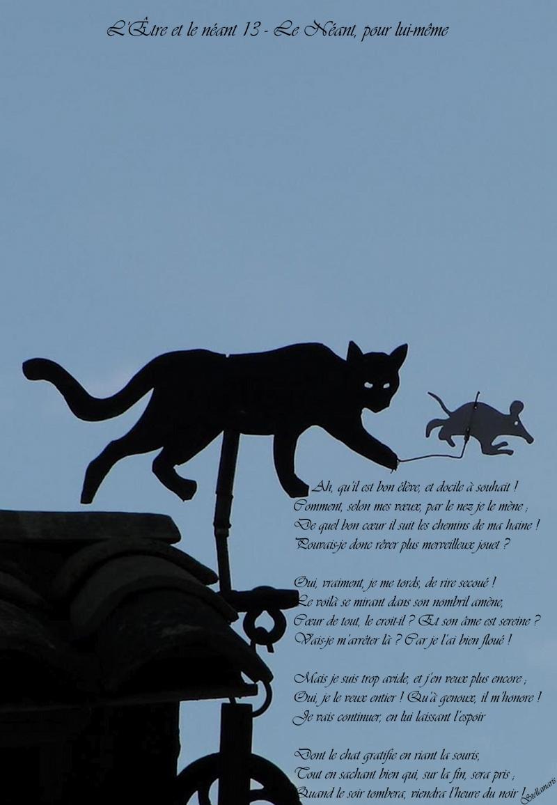 L'Être et le Néant 13 – Le Néant, pour lui-même / / Ah, qu'il est bon élève, et docile à souhait ! / Comment, selon mes vœux, par le nez je le mène ; / De quel bon cœur il suit les chemins de ma haine ! / Pouvais-je donc rêver plus merveilleux jouet ? / / Oui, vraiment, je me tords, de rire secoué ! / Le voilà se mirant dans son nombril amène, / Cœur de tout, le croit-il ? Et son âme est sereine ? / Vais-je m'arrêter là ? Car je l'ai bien floué ! / / Mais je suis trop avide, et j'en veux plus encore ; / Oui, je le veux entier ! Qu'à genoux, il m'honore ! / Je vais continuer, en lui laissant l'espoir / / Dont le chat gratifie en riant la souris, / Tout en sachant bien qui, sur la fin, sera pris ; / Quand le soir tombera, viendra l'heure du noir ! / / Stellamaris